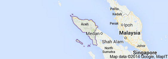 Aceh is a special region of Indonesia. It is located at the northern end of Sumatra. Its capital is Banda Aceh with a population of 5,046,000.